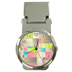 Background Abstract Grid Money Clip Watches