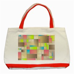 Background Abstract Grid Classic Tote Bag (red)