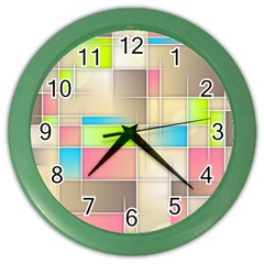 Background Abstract Grid Color Wall Clocks