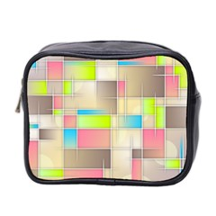 Background Abstract Grid Mini Toiletries Bag 2 Side