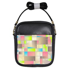 Background Abstract Grid Girls Sling Bags
