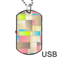 Background Abstract Grid Dog Tag Usb Flash (one Side)