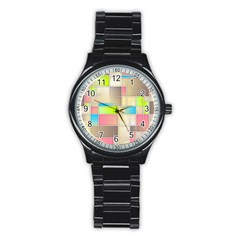 Background Abstract Grid Stainless Steel Round Watch