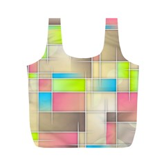 Background Abstract Grid Full Print Recycle Bags (m)
