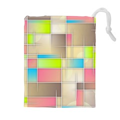 Background Abstract Grid Drawstring Pouches (extra Large)