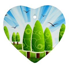 Landscape Nature Background Ornament (heart)