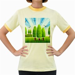 Landscape Nature Background Women s Fitted Ringer T Shirts