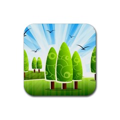 Landscape Nature Background Rubber Square Coaster (4 Pack)