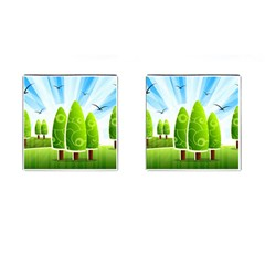 Landscape Nature Background Cufflinks (square)
