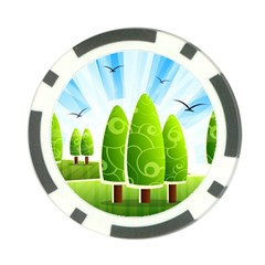 Landscape Nature Background Poker Chip Card Guard