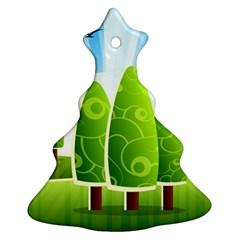 Landscape Nature Background Ornament (christmas Tree)