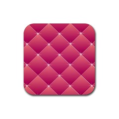 Pink Background Geometric Design Rubber Coaster (square)