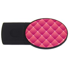 Pink Background Geometric Design Usb Flash Drive Oval (2 Gb)