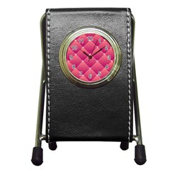 Pink Background Geometric Design Pen Holder Desk Clocks by Nexatart