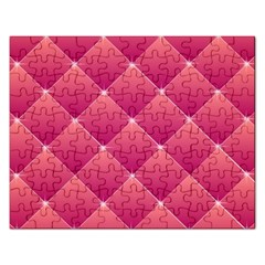 Pink Background Geometric Design Rectangular Jigsaw Puzzl