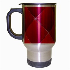 Pink Background Geometric Design Travel Mug (silver Gray)