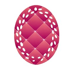 Pink Background Geometric Design Oval Filigree Ornament (two Sides)