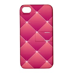 Pink Background Geometric Design Apple Iphone 4/4s Hardshell Case With Stand