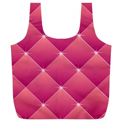 Pink Background Geometric Design Full Print Recycle Bags (l)