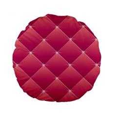 Pink Background Geometric Design Standard 15  Premium Flano Round Cushions by Nexatart