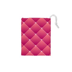 Pink Background Geometric Design Drawstring Pouches (xs)
