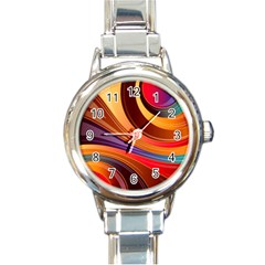 Abstract Colorful Background Wavy Round Italian Charm Watch