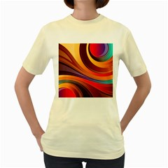 Abstract Colorful Background Wavy Women s Yellow T Shirt