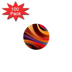 Abstract Colorful Background Wavy 1  Mini Magnets (100 Pack)