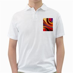 Abstract Colorful Background Wavy Golf Shirts