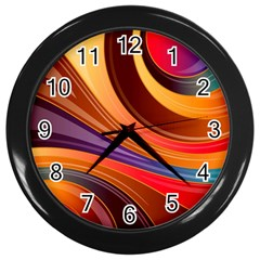 Abstract Colorful Background Wavy Wall Clocks (black)