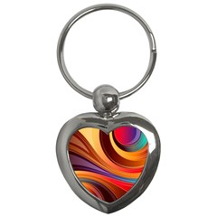 Abstract Colorful Background Wavy Key Chains (heart)