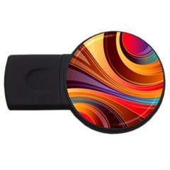 Abstract Colorful Background Wavy Usb Flash Drive Round (2 Gb)