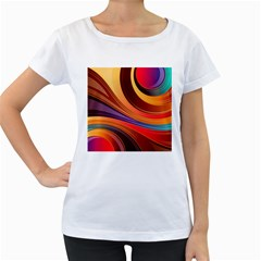 Abstract Colorful Background Wavy Women s Loose Fit T Shirt (white)
