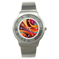 Abstract Colorful Background Wavy Stainless Steel Watch