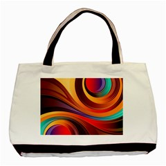 Abstract Colorful Background Wavy Basic Tote Bag