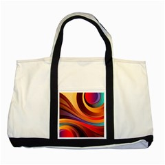 Abstract Colorful Background Wavy Two Tone Tote Bag