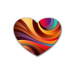 Abstract Colorful Background Wavy Heart Coaster (4 Pack)