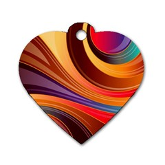 Abstract Colorful Background Wavy Dog Tag Heart (two Sides)