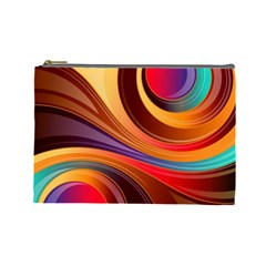 Abstract Colorful Background Wavy Cosmetic Bag (large)