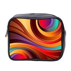 Abstract Colorful Background Wavy Mini Toiletries Bag 2 Side