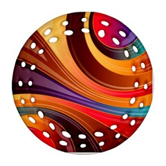 Abstract Colorful Background Wavy Round Filigree Ornament (two Sides)