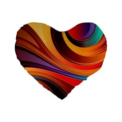 Abstract Colorful Background Wavy Standard 16  Premium Heart Shape Cushions