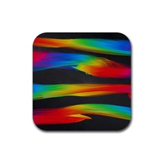 Colorful Background Rubber Coaster (square)