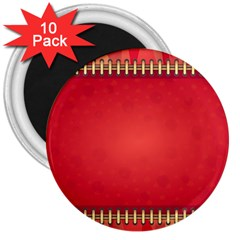 Background Red Abstract 3  Magnets (10 Pack)