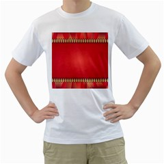 Background Red Abstract Men s T Shirt (white) (two Sided)