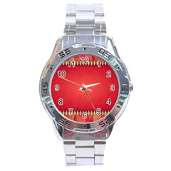 Background Red Abstract Stainless Steel Analogue Watch