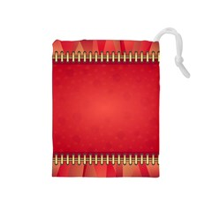 Background Red Abstract Drawstring Pouches (medium)