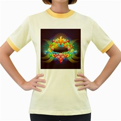 Badge Abstract Abstract Design Women s Fitted Ringer T Shirts