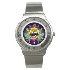 Badge Abstract Abstract Design Stainless Steel Watch
