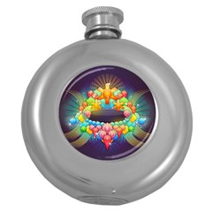 Badge Abstract Abstract Design Round Hip Flask (5 Oz)